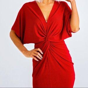 Karlie   Twist Front Dress   PLUM   V-Neck
